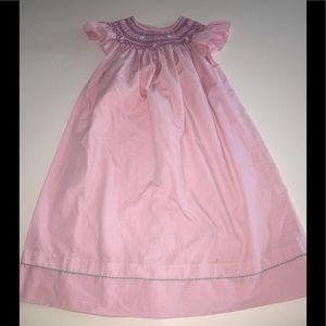 Anavini smocked Bishop dress pink white Gingham 5